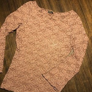 Brown Lace Top with Bell Sleeves